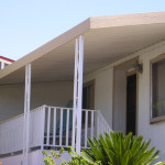 Aluminum Tri Awning Simulated Wood Facia Scroll Posts