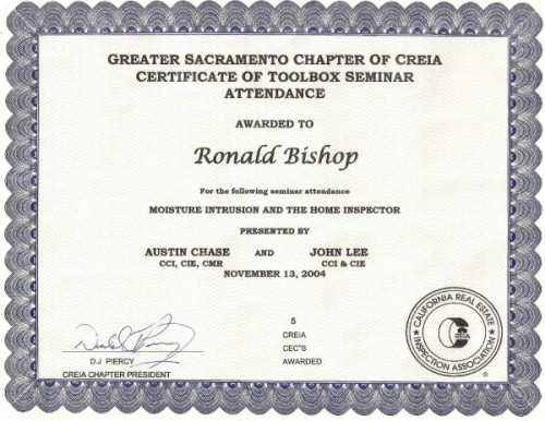 American Institute Inspections Certified For Moisture Intrusion