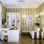 Easy Home Office Ideas White Furniture Green Stripes