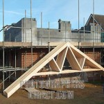 Essex House Building Site Prefabricated Roof Trusses Leaning Against