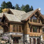 House Luxury Log Home Plans Natural Stone Fireplace Wooden Bench