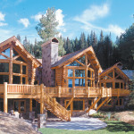 Log And Stone Home Sitting Directly Adjacent Double Cabins Ski Run