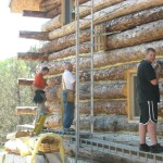 Log Home Building The Butt And Pass Way Chinking Begins