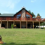 Log Home Golden Eagle Homes Summer Exterior Rear View