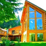 Luxurious Riverfront Log Home North Bend Image