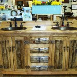 Made Old Pine Logs From Log Homes Sinks Are Copper Bathr