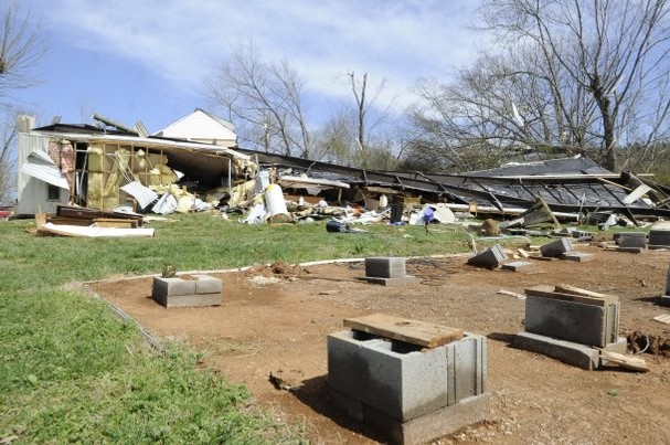 Mobile Home Was Removed From Its Foundation When Violent Weather