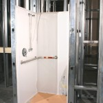 One The Prefab Shower Stalls Has Been Set Into Place