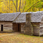 Original Log Cabin During Fall Smoky Mountains Homes Buildings