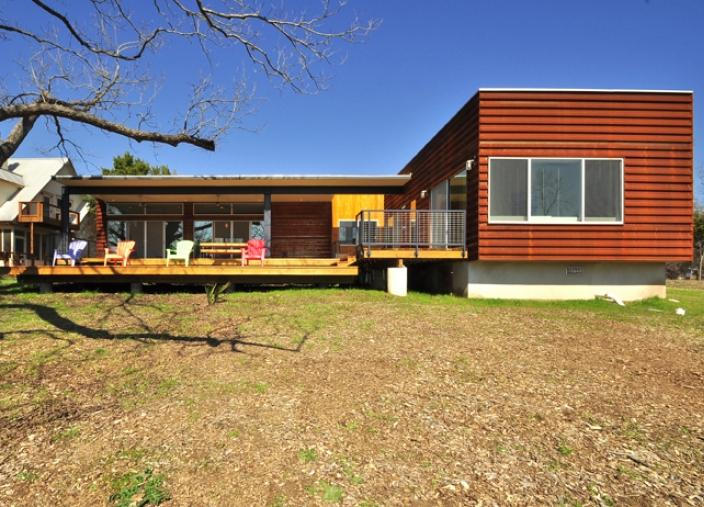 Patinated Metal Facade Austin Texas Modern Prefab Modular Homes