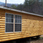 Round Log Siding Faux Mobile Trailer Home Rustic Wood