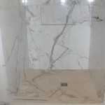 Shower Walls Niche And Pan All Are Done Calacatta Gold
