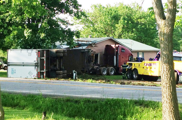 Tractor Trailer Runs Off Road Crashes Into House One Injured