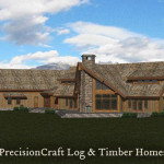 Vermont Rendering Post Beam Log Home Precisioncraft Homes