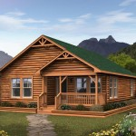 Wonderful Modular Log Cabin Home Design Green Roof Made From Wood