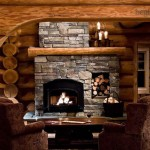 Interior Off Log Home Stone Fireplace
