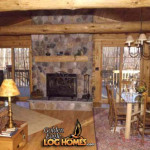 Log Home Golden Eagle Homes Great Room Dining Area