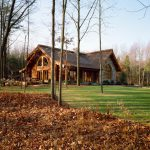 Log Home Pennsylvania Covered Porch Massive