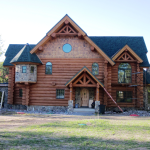 New Log Home Finishing August Frontier
