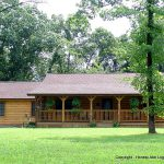 This Single Story Ranch Style Log Home Was Built Rocky Homes